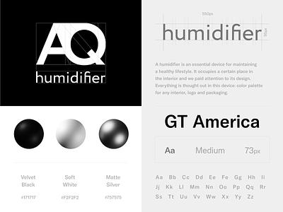AQ humidifier - Logo Design product matte 3dsmax 3d art material colors color branding brandbook icon set icon design minimal black black  white clean branddesign brand logotype logo