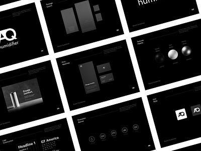 AQ Humidifier - Brand Book product productdesign font fonts icons icon minimalism minimal black black  white colors logo guide logotype logo branding brandguidelines brand brand book