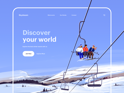 Skydream - Landing Page ux winter winter illustration illustrator web design landingpage landing uiux ui illustration design webdesign web