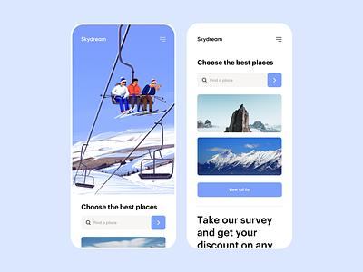 SkyDream - Mobile Responsive Design illustrator app clean minimal colors responsive design responsive mobiledesign illustration ui ux uiux mobile ui mobile