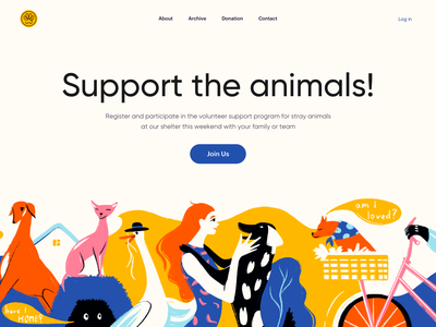 Pet's Home - Landing Page colorful design art design volunteer illustration landingpage colors color illustrator ux uiux ui web design landing web