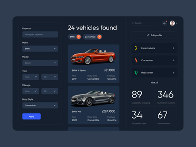 Bidding Car - Web Application Design uxdesign app ui ux design clean minimalist minimal dashboard app dashboard design dashboard web application web app webdesign web