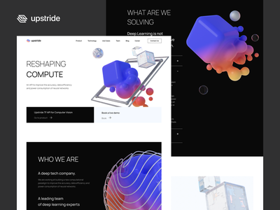 Upstride - Web Design web design gradient colors website minimal design clean uxdesign ux uiux ui 3d art 3d webdesign web