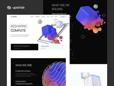 Upstride - Web Design web design gradient colors website minimal design clean uxdesign ux uiux ui 3d art 3d webdesign web