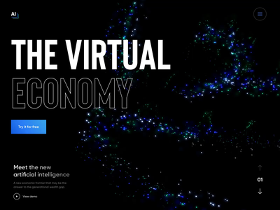The Virtual Economy - Web Design for AI project website ux ui ai design artificial intelligence ai landing webdesign design motion black sketch animation web