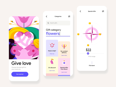 Give Love - Mobile App Design mobile mobile ui gift box love valentines day app colors ux ui illustration illustrator motion design mobile app design mobile app animation motion