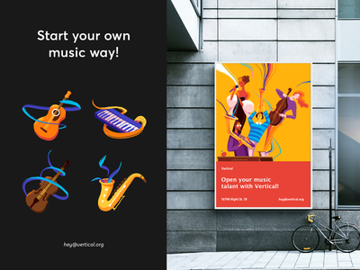 Vertical - Branding for Music School colors ui sketch illustrator brand design banner promote advertisment ads typography illustration brand brand identity branding