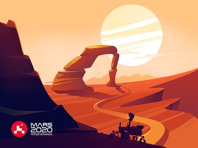 Illustration Mars 2020 Perseverance perseverance mars 2020 nasa 2021 nasa 2020 mars illustration mars nasa illustrator ui colors illustration