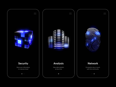 Security - Mobile App with 3D 3dsmax security neon light neon design dark mode motion animation 3d animation minimal clean ui 3d icons mobile app mobile 3d
