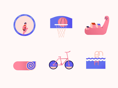 Sport activities - Animated icons stickers icons pack illustrated icons colors icon set sport illustrator illustration icon design motion animation icons