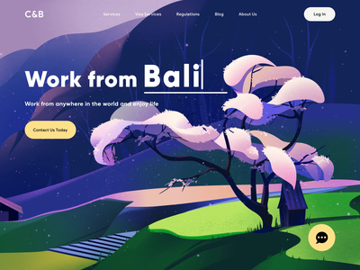 C&B - Web Design for Remote Work animated text design remote work colors color aftereffects landing page ux ui web web design spring motion animation illustrator illustration