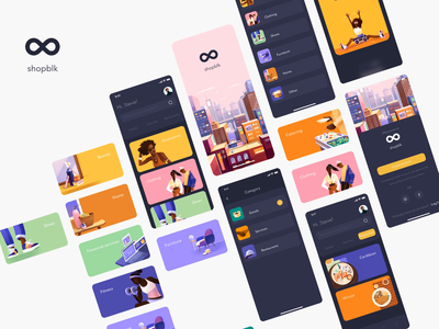 ShopBLK - Design for Mobile App mobile ui motion animation mobile app design sketch illustrator colors mobile online shopping shop illustration mobile design uxdesign ux uiux ui mobile app