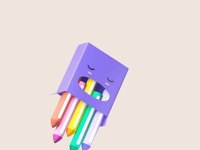 Pencil Box - 3D Animation 3d max illustrator illustrator art motion animation illustration ui colors 3d model 3d modeling 3d art 3d animation 3d