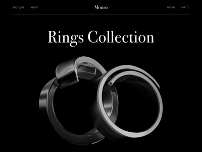 Monro - Landing page design for Jewelry ux 3d model clean landing page design dark mode jewelry motion animation ui 3d modeling 3d landing page ui  ux design ui design web design landing design landing