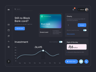 Black Bank - Dashboard Design bank bank app web app design web app bankingapp banking ui online banking clean dark mode web design ux design ux uiux dashboard design dashboard