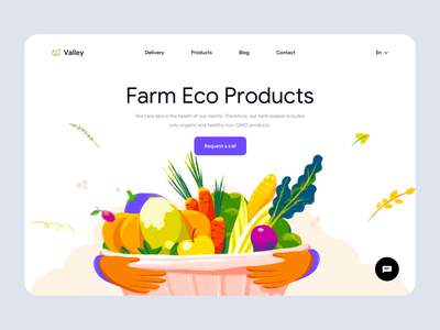 Valley - Web Design for Eco Products uidesign landing web ui ux online shop website minimal eco food eco clean colors landing design landing page web design illustrator illustration