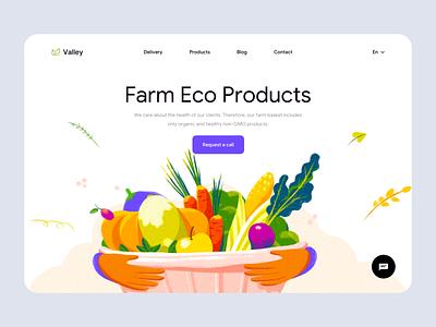Valley - Web Design for Eco Products uidesign landing web ui ux online shop website minimal eco food eco clean colors landing design landing page web design illustrator illustration