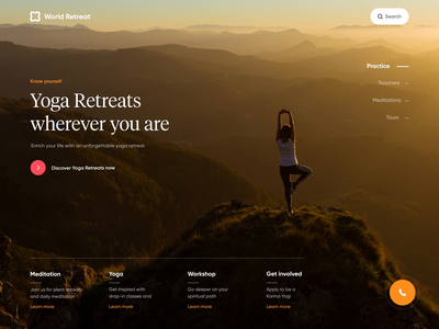 World Retreat - Responsive Design landing design landing web minimal clean ui motion design animation design motion animation ux design yoga web site uidesign web design responsive design responsive