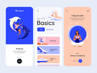 Dolphin - Mobile Application Design for Meditation app mobile application ui design ux mobile ui design illustration design ui colors illustrator illustration meditation mobile app design meditation app mobile design mobile app