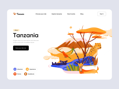 Tanzania - Landing Page Design animals illustrated animalsa web ui design safari traveling travel website ui ux colors landing page design illustrator illustration web ui web web design landing design landing page landing