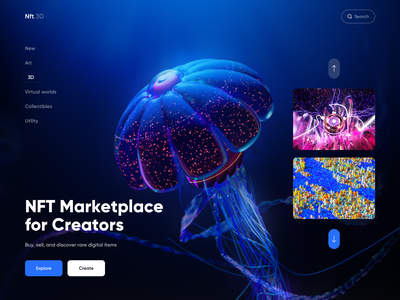 NFT Marketplace - Web Design with 3Ds 3d model 3d website web app marketplace app web neon 3d art 3d artist colors ui design marketplace nftart nft web design 3d modeling 3d