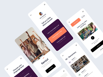 Kenzui - Mobile Educational App Design clean mobile app design motion design mobile animation motion education app online learning colors ui online education minimal uxdesign ux uiux mobile ui mobile design mobile app