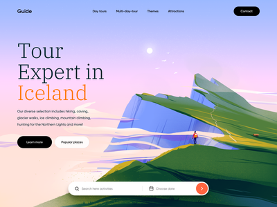 Guide - Web Design for Travel Agency ux design website travel agency traveling tourism website design landing web ux ui colors illustration art illustrator illustration ui design webdesign
