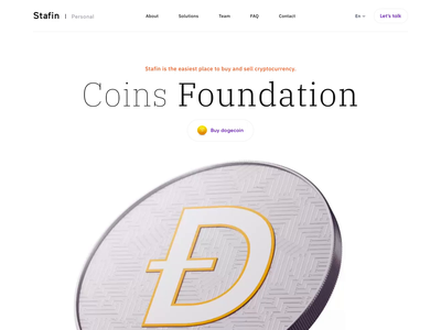 Stafin - Web Design with 3D for Coins Foundation. clean uiuxdesign uidesign uiux ui web design landing design landingpage dogecoin cryptocurrency crypto blockchain 3d art motion design motion animation 3d animation 3d modeling 3d
