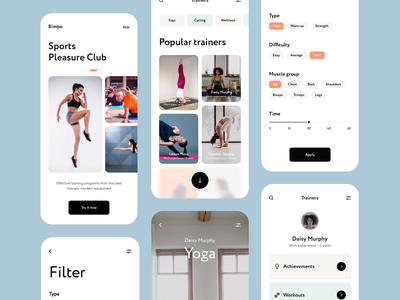Bimbo - Mobile App Design for Workouts clean ux mobile video workout app workouts fitness app fitness ui mobile app development motion design motion animation ux design ui design mobile design mobile app design mobile app