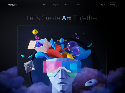 Arthouse - Web Design with 3D Illustration 3d illustrator illustrator ui artwork illustration colors design inspiration inspiration 3d artwork 3d 3d illustration 3d art art ui art web design
