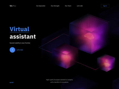 Vir.Pro - Web Design with 3D for Virtual assistant web 3d design colors virtual assistant dark mode artificial intelligence artificial ai virtual helper ui design ui gradient 3d cube 3d web design