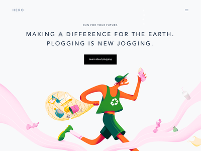 HERO - Web Design for Plogging vector clean colors volonteer ecology promo plogging landing design landing page web design illustrator illustration ui design ui