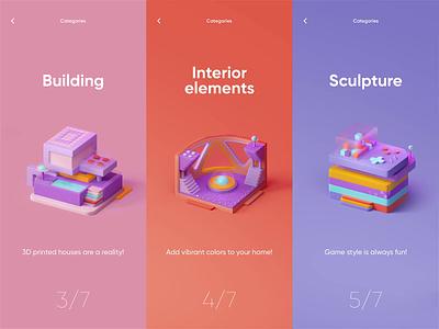 3D Print - Mobile App with 3D Buildings colors 3d colors ui design ui mobile app design mobile app motion graphics motion animation 3d motion 3d animation 3d building 3d model 3d