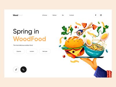 WoodFood - Web Design with Illustration ui design vector design illustrator colors landingpage landing illustration food illustration food restaurant landing page web web design ux ui