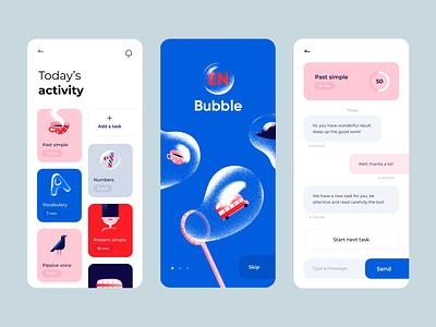 Bubble - Mobile App Design ui design colors application design ios illustrations design illustration clean minimal language app ux design ui ux app design mobile design mobile application design mobile app design