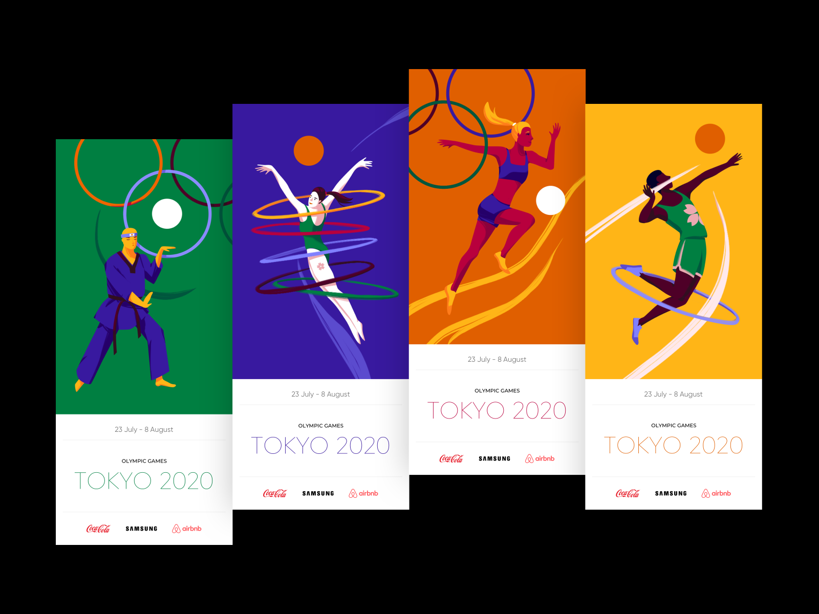 Olympic Games Tokyo - Tickets Design with Illustrations