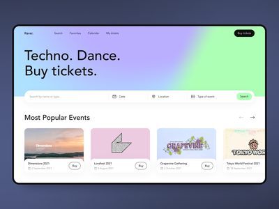 Raver - Web Design for Events ticket event event manager ux ui colors clean minimal mini gradient design web app gradient web ui web design web
