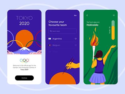 Tokyo 2020 - Mobile App Olympic Games tokyo 2020 tokyo olympic olympic games sport events sport colors illustrator illustration ui design ux mobile design mobile app ui