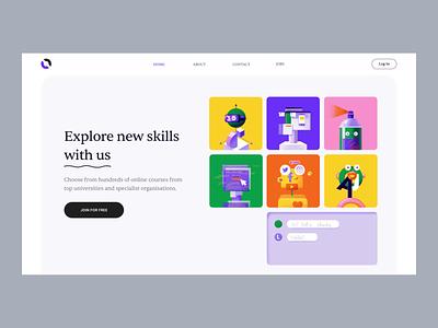 Over - Web Design for Online Education skill share colors illustrator illustration clean online education online learning interaction motion animation ux design ui design ui web web design
