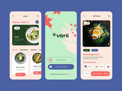 Veni - Mobile App Design for Food Delivery. brand design branding logo ui design clean minimal mobile design delivery food restaurant delivery app mobile app design mobile app food delivery