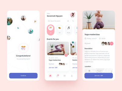 2Event - Mobile App Design for Events Booking ux design ux app booking event minimal clean interface ui ui design mobile app mobile design mobile