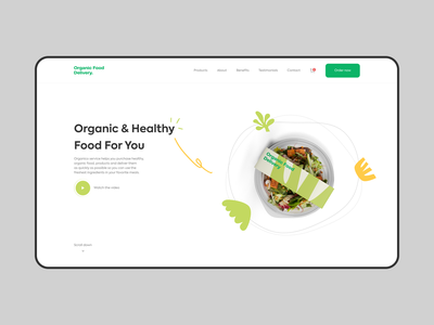 Organic - Web & Brand Design for Food Delivery branding animation minimal package design clean design clean colors ui design organic organic food food delivery food web web design