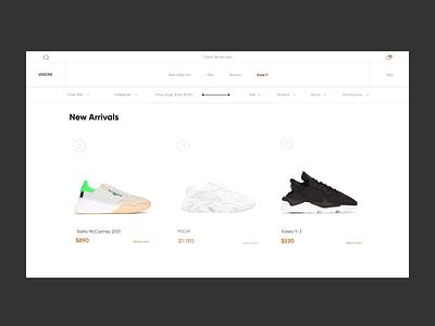 Vendre. - e-Commerce Web Design for Online Store motion graphics animation motion clean fashion fashion design minimal shoes store cloth store store ecommerce web ui ui design web design online store