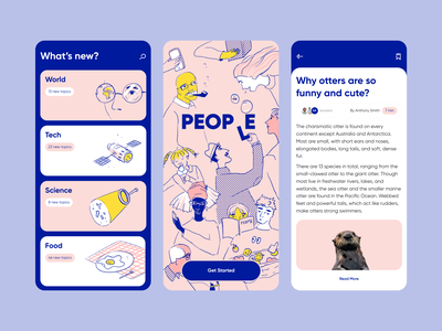 People - Mobile App Design with Illustrations ui people illustration people line illustration in design colors illustrator illustration mobile design mobile app design mobile app
