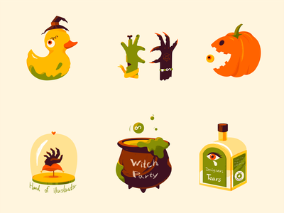 Halloween Sticker Pack and Illustration stickerset sticker pack colors trickortreat trat trick illustrator illustration halloween illustration halloween warm up dribbbleweeklywarmup