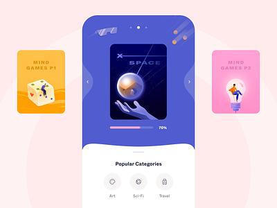 Mind Games - Mobile App with Illustrations game 2d colorful colors ui mind games mobile app with illustration illustrator illustration mobile mobile design mobile app