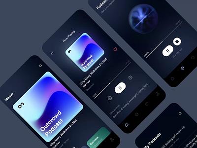 Outcrowd Podcast - Mobile App Design with 3D motion graphics motion animation colors ui podcast app ai helper ai voice voice assistant 3d model 3d mobile podcast podcast mobile design mobile app mobile