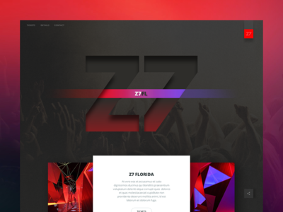 Z7 Night Festival button typography magenta red color dance club night shadow web design