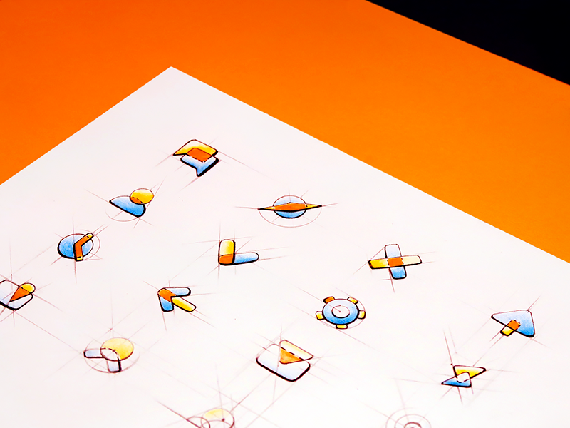 Color icon set icons orange red yellow sketch color paper