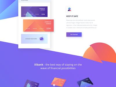 Xibank - banking. icons website colorful credit cards banking landing